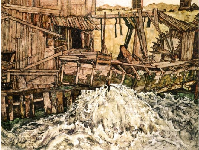 1916 le moulin Egon Schiele copie
